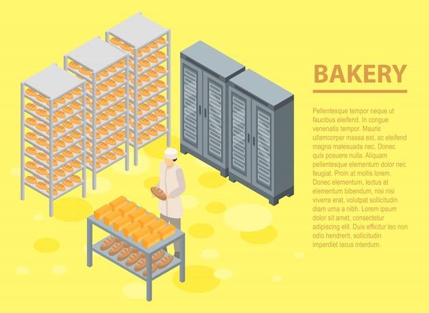 Bakkerij concept banner, isometrische stijl Premium Vector