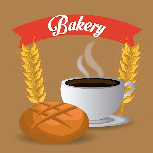 Bakkerij, dessert en melkbar ontwerp. Gratis Vector