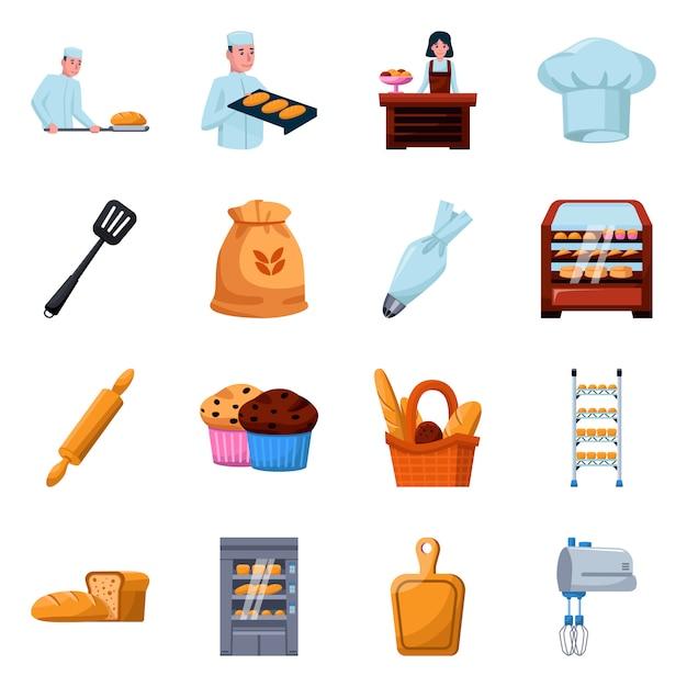 Bakkerij en bakker cartoon-elementen. set van illustratie brood en bloem. verzameling elementen bakkerij. Premium Vector