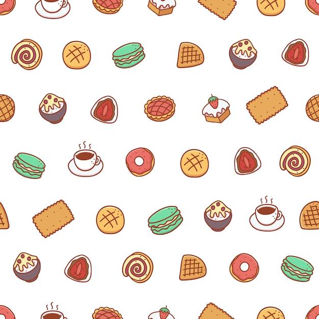 Bakkerij en dessert hand getekende naadloze patroon Premium Vector