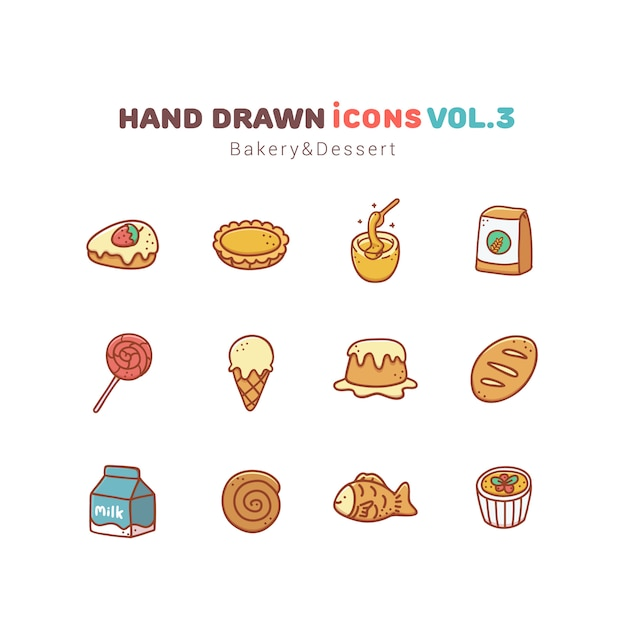 Bakkerij en dessert hand getekende pictogrammen Premium Vector