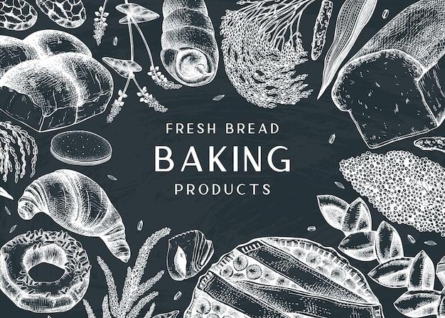 Bakkerij frame op bord. met taarten, brood, gebak, koekjes, handtekeningen brownies. geweldig voor bakkerij, verpakking, menu, etiket, recept, bezorging van eten. Premium Vector