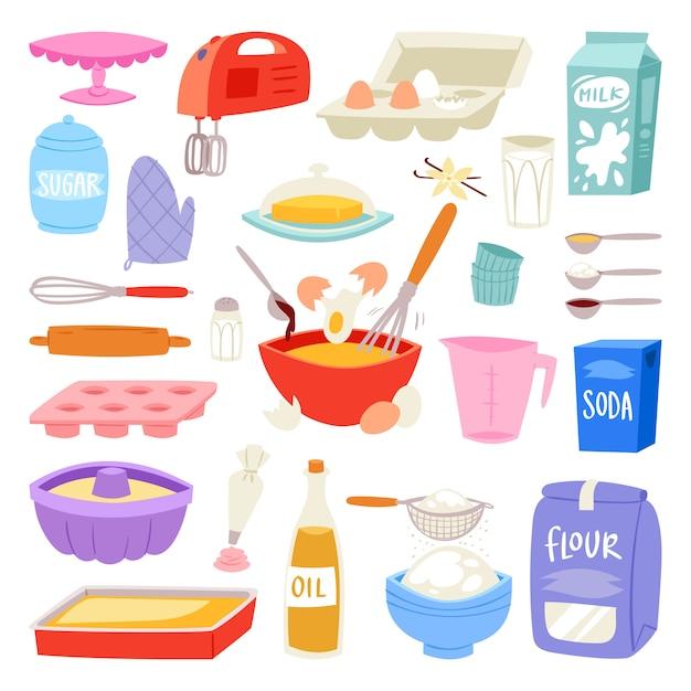 Bakkerij ingrediënten voedsel en keukengerei om te bakken Premium Vector