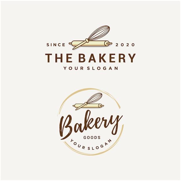 Bakkerij logo sjabloon set Premium Vector