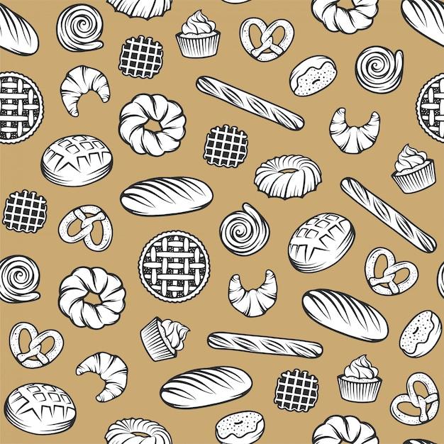 Bakkerij naadloos patroon met gegraveerde elementen. achtergrondontwerp met brood, gebakje, pastei, broodjes, snoepjes, cupcake Premium Vector