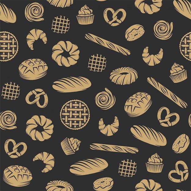 Bakkerij naadloos patroon met gegraveerde elementen. Premium Vector