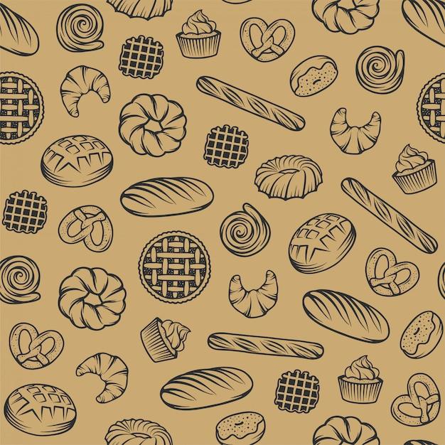 Bakkerij naadloos patroon met gegraveerde elementen Premium Vector