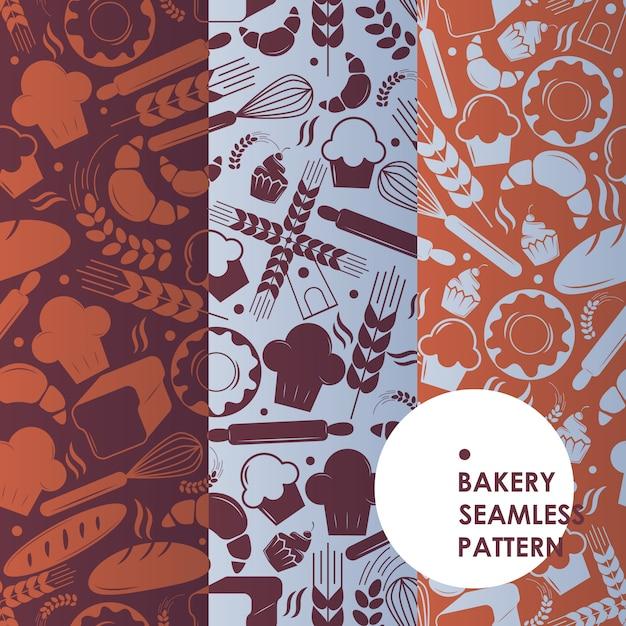Bakkerij pictogrammen naadloze patroon, bakehouse symbolen, vers brood en smakelijke cakes, Premium Vector