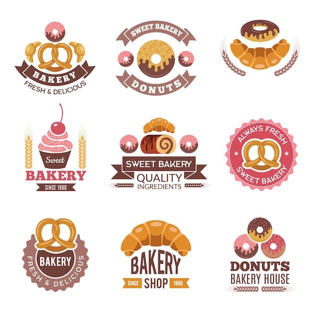 Bakkerij winkel logo, donuts koekjes vers voedsel cupcakes en brood voor badges van bakkerij markt Premium Vector