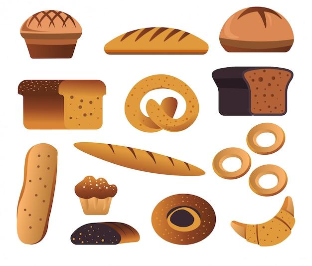Bakkerijproducten, brood en banket Premium Vector