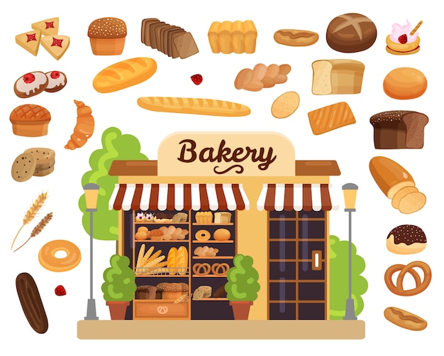 Bakkerijproducten platte set Gratis Vector