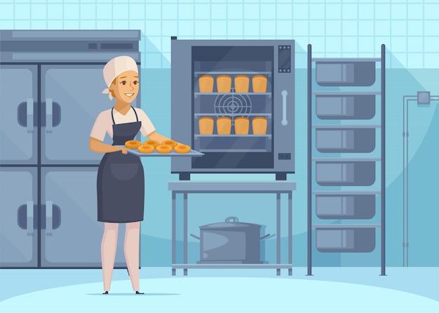 Bakkerijproductie illustation Gratis Vector