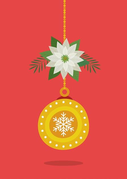 Bal het hangen van vrolijke kerstmisdecoratie Gratis Vector