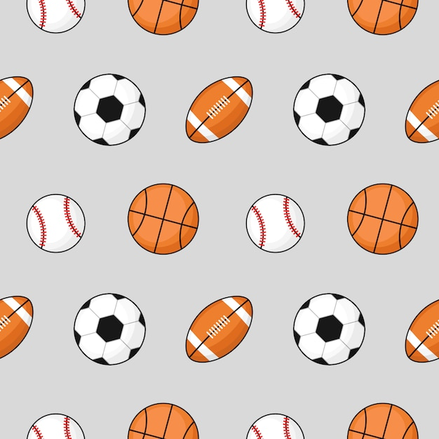 Bal naadloos patroon voetbal, basketbal, voetbal op grijs. Premium Vector
