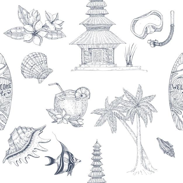 Bali hand getrokken naadloze patroon Gratis Vector