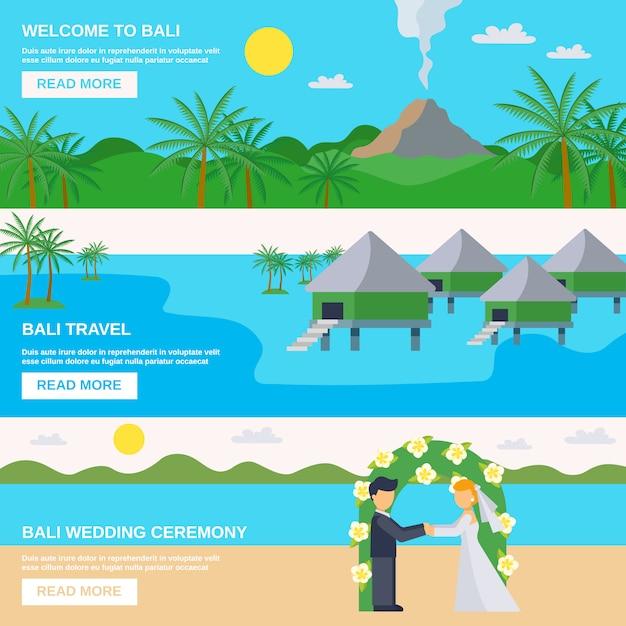 Bali reisbanners instellen Gratis Vector