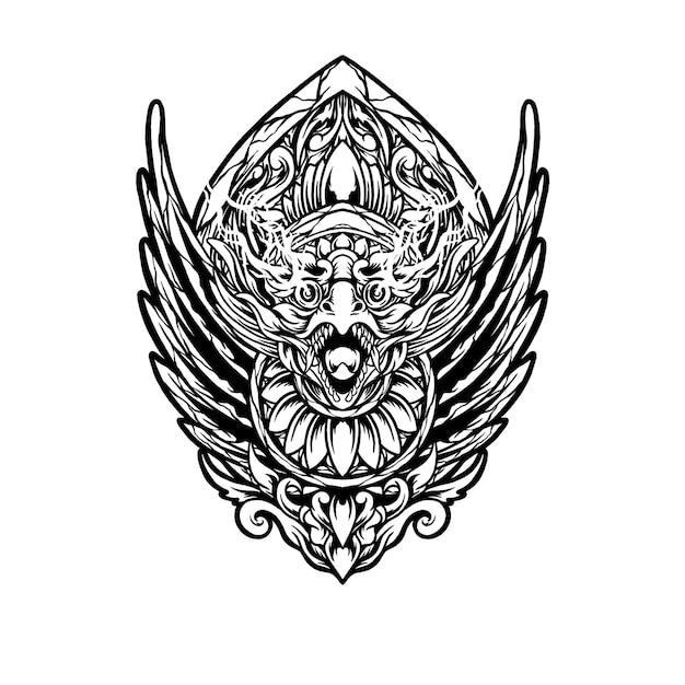 Balinees jatayu-hoofd Premium Vector