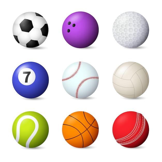 Ballen instellen vectorillustratie Gratis Vector