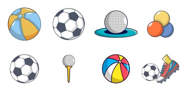 Ballen pictogramserie. beeldverhaalreeks ballen vectorpictogrammen geplaatst geïsoleerd Premium Vector