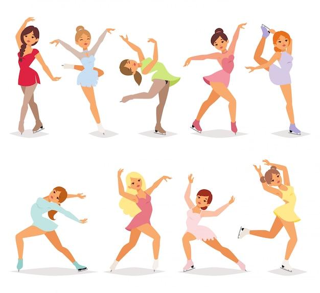 Ballerina danseres meisje set. Premium Vector