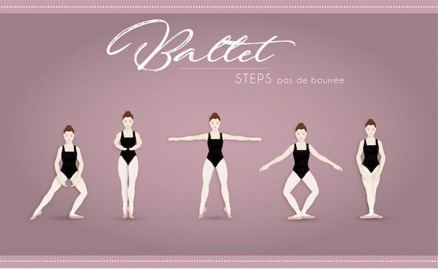 Ballet steps pas de bourree Premium Vector