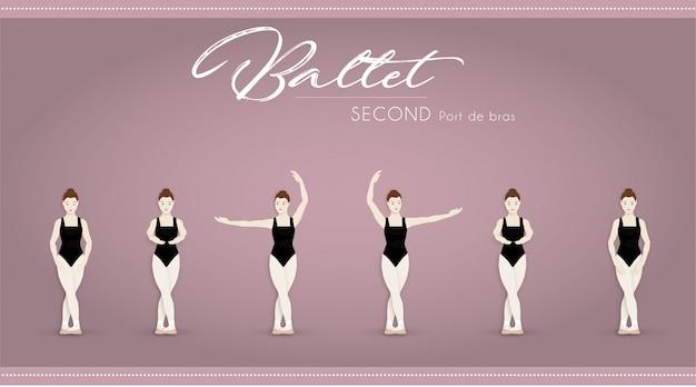 Ballet tweede port de bras Premium Vector