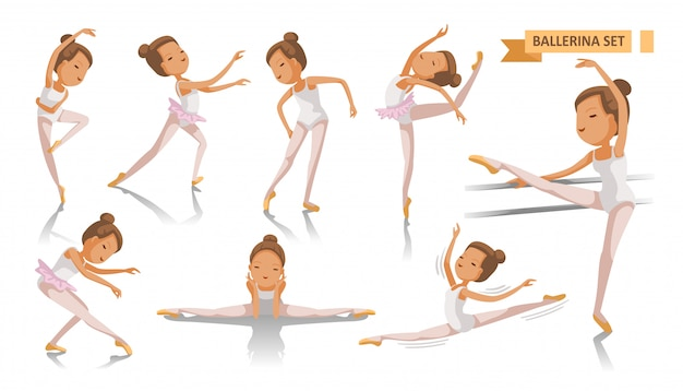 Ballet van ballerina. de mooie meisjesballerina stelt reeks. veel poorten dansen. schoonheid van een klassieke balletkunst. volledige lichaam jong meisje Premium Vector