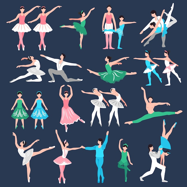 Balletdanseres set Gratis Vector