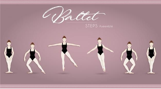 Balletstappen monteren Premium Vector