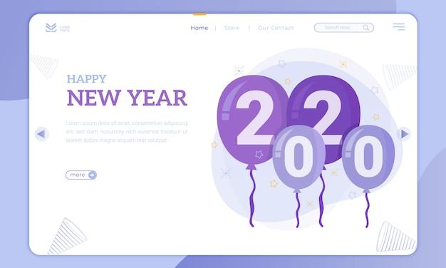 Ballon 2020 voor nieuwjaarsthema op de bestemmingspagina Premium Vector