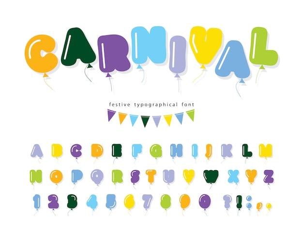 Ballon heldere komische lettertype. vet cartoon alfabet Premium Vector