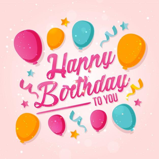 Ballon theme happy birthday card illustratie Gratis Vector