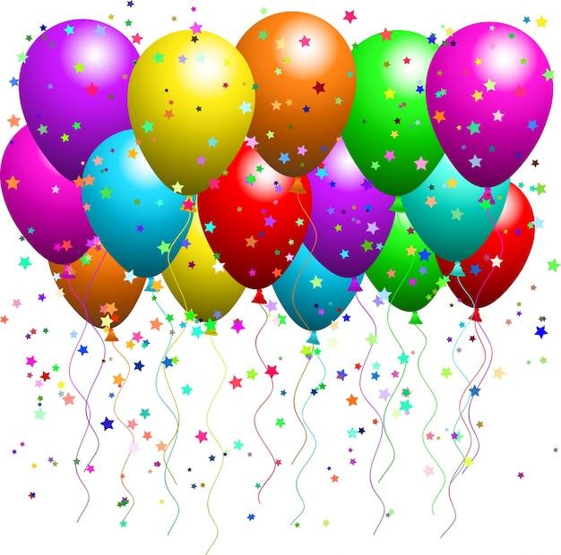 Ballonnen En Confetti Vector Gratis Download