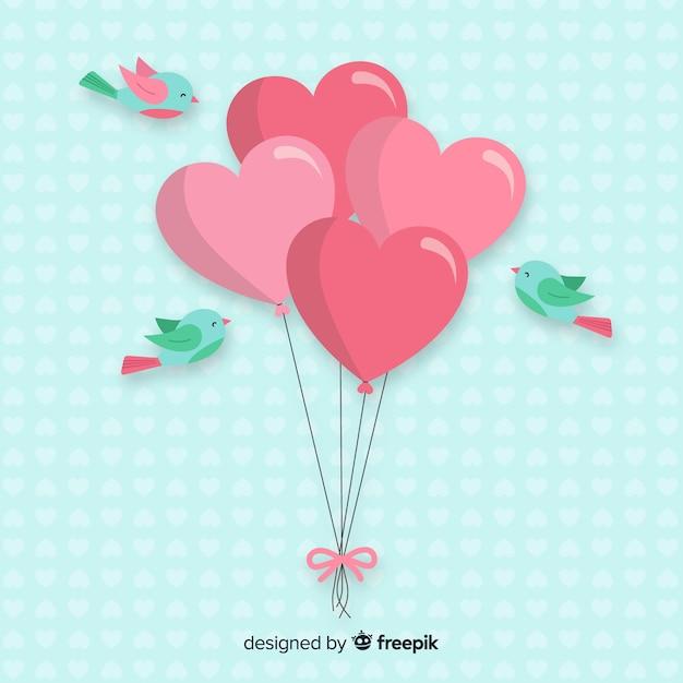 Ballonnen en vogels achtergrond Gratis Vector