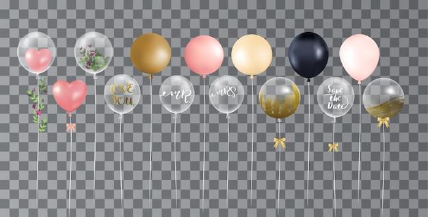 Ballonnen op transparante achtergrond Premium Vector