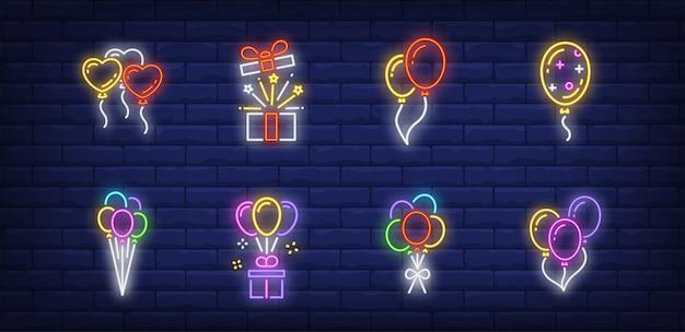 Ballonnen symbolen in neon stijl Gratis Vector