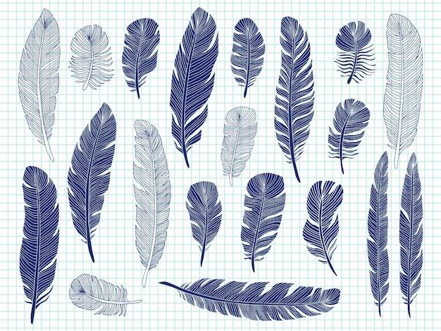 Balpen tekening vogelveren grote set op notebook Premium Vector