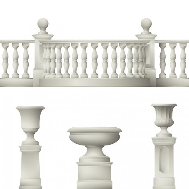 Balustrade, decoratieve vaas, set van landschapselementen Premium Vector
