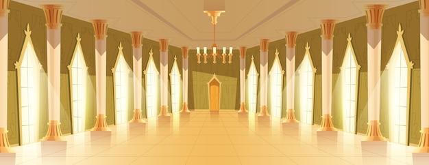 Balzaalzaal met kroonluchter vectorillustratie Gratis Vector