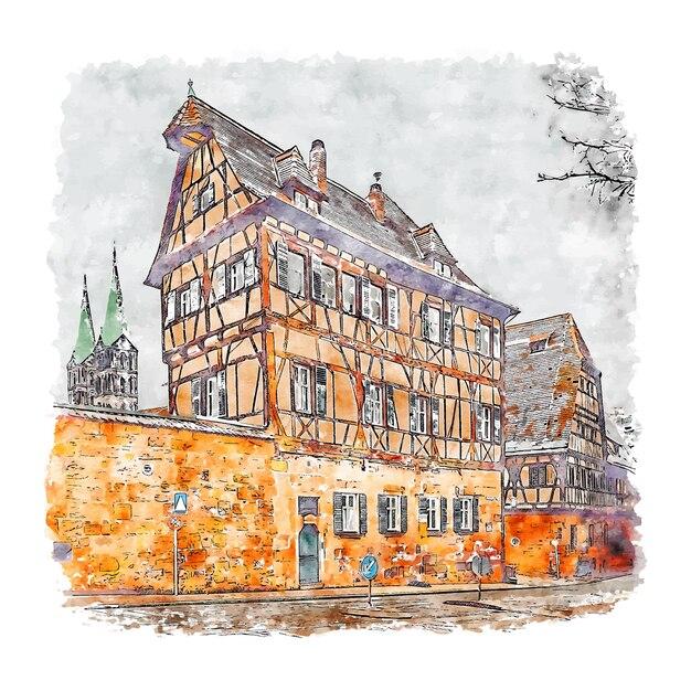 Bamberg duitsland aquarel schets hand getrokken Premium Vector