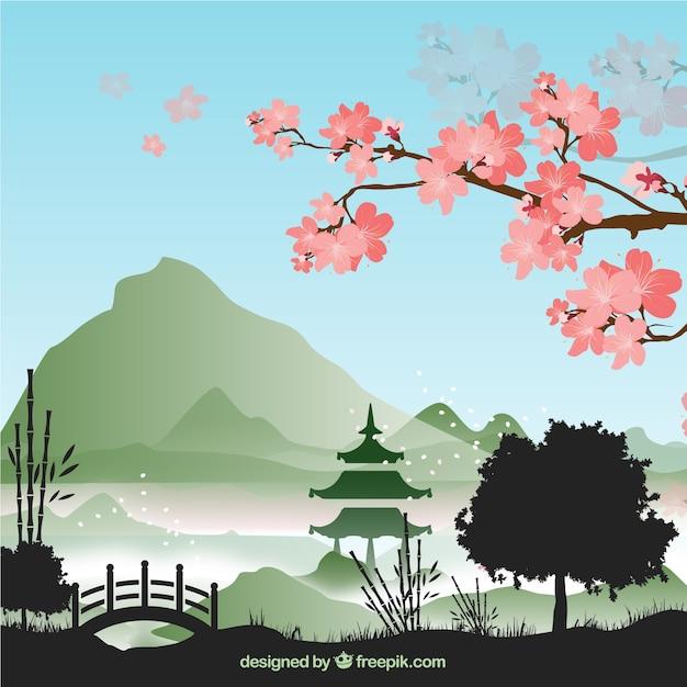 Bamboe boom achtergrond vector set Gratis Vector
