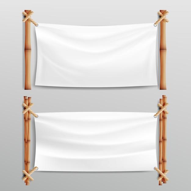 Bamboe frame realistisch Premium Vector