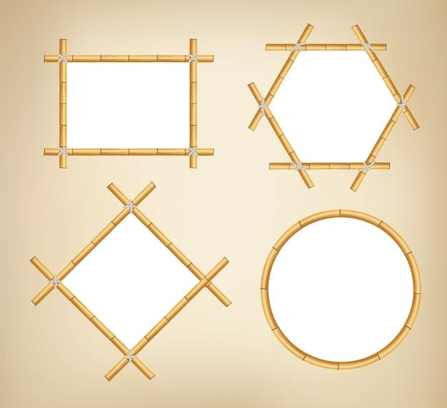 Bamboe frames. houten stokbanners van verschillende vormen. japanse rustieke bamboe teken frame. Premium Vector