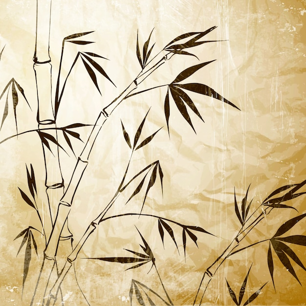 Bamboe schilderij over oud papier. Premium Vector