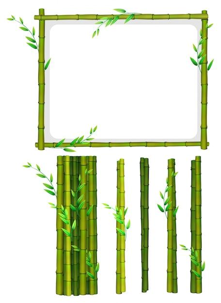 Bamboeframe en bamboestokken Gratis Vector