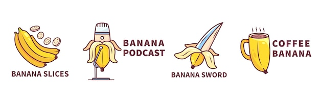 Banaan logo collectie Gratis Vector