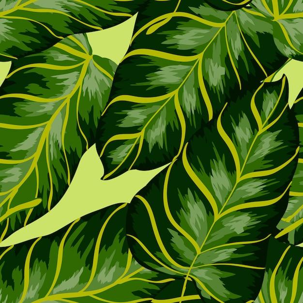 Banaan verlaat tropische naadloze patroon. Premium Vector
