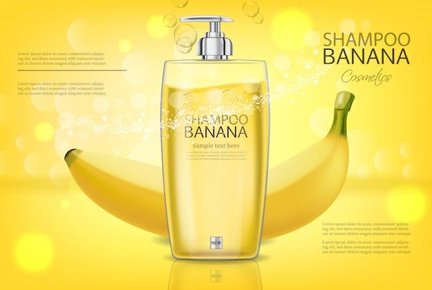 Banana shampoo banner Premium Vector