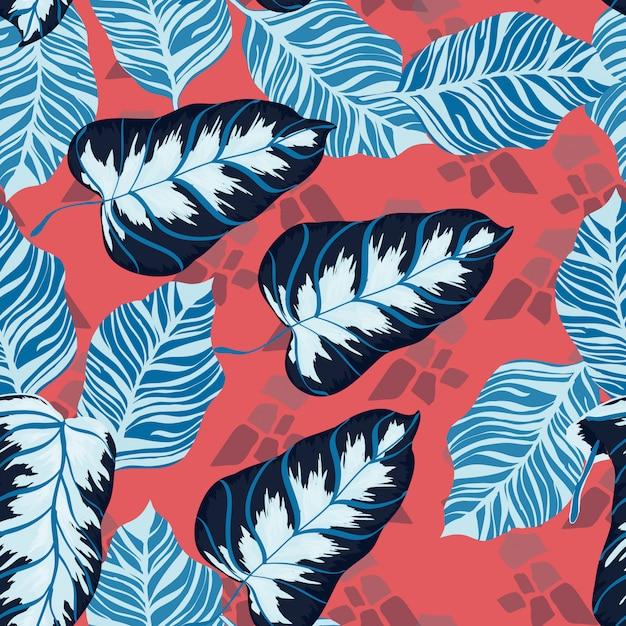 Banana tropical verlaat floral print exotische naadloze patroon. Premium Vector