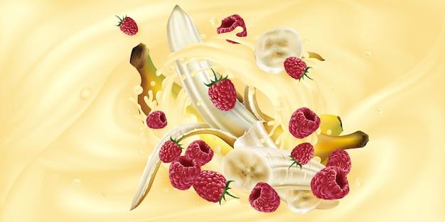 Bananen en frambozen in een scheutje milkshake of yoghurt. Premium Vector